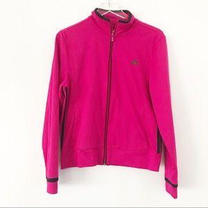 Adidas Pink Zip Sweat Shirt, Size Large